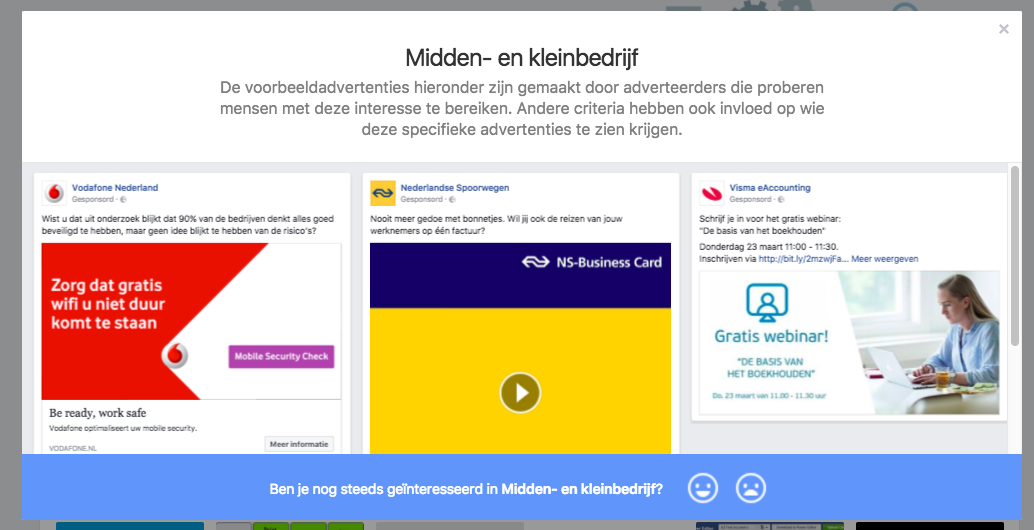 Facebook advertenties van concurrenten