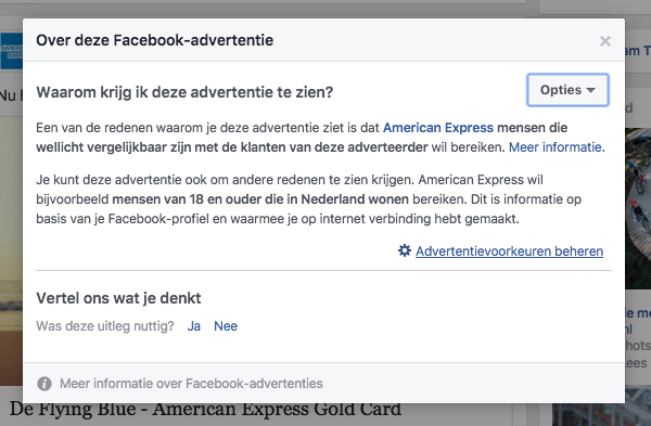 Over deze Facebook advertentie bekijken