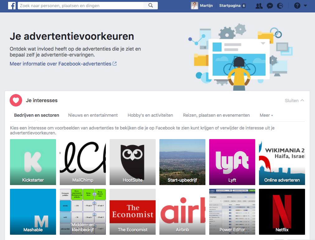 Pagina met Facebook advertentievoorkeuren