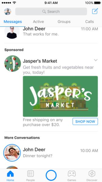 Facebook Messenger advertenties