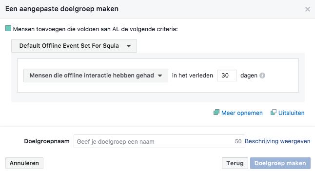 Een aangepaste offline Facebook doelgroep maken