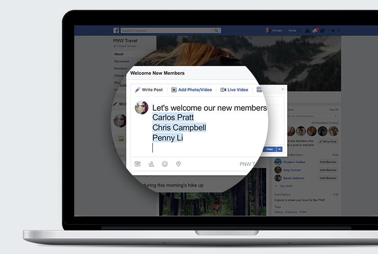 Automatisch taggen in welkomstbericht in Facebook groepen