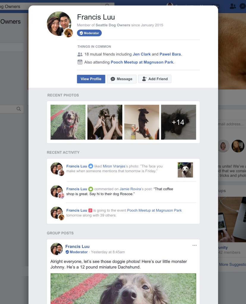 Facebook profiel zichtbaar in Facebook groepen