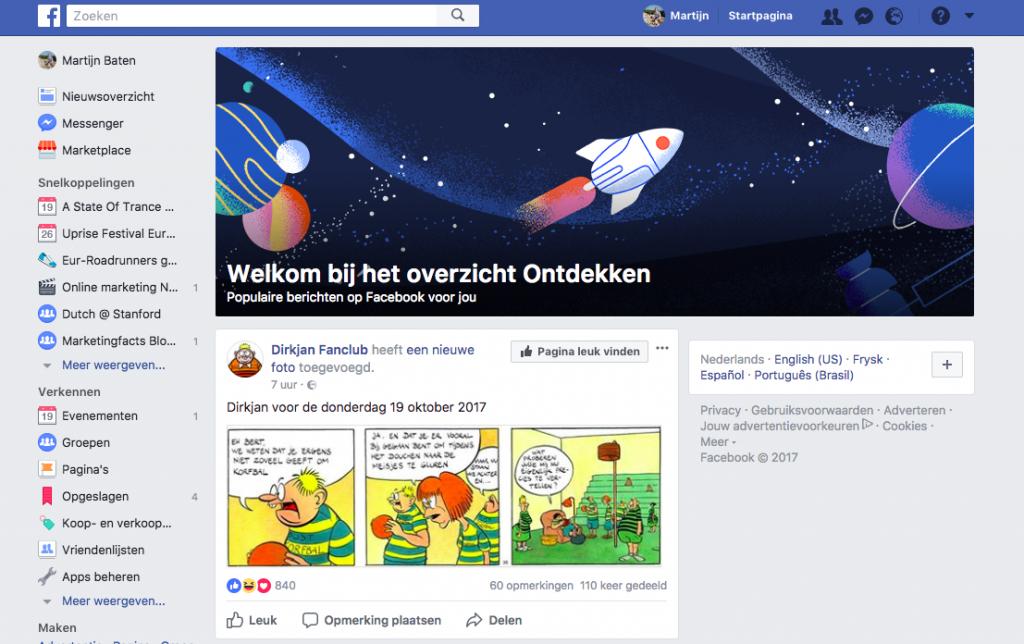 Tweede Facebook nieuwsoverzicht om content te ontdekken