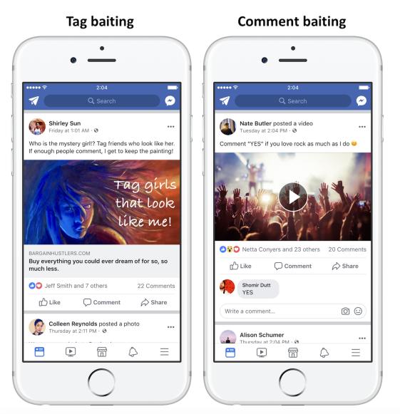 Facebook bestraft bedelen om interactie