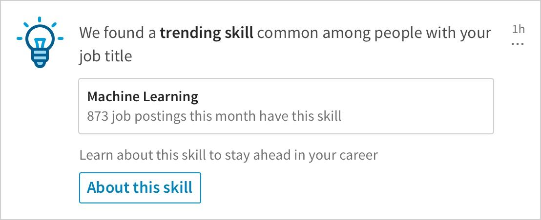 LinkedIn notificaties voor nieuwe vaardigheden