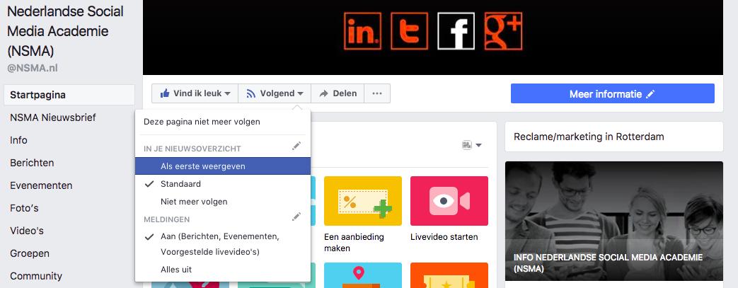Als eerste weergeven optie op Facebook bedrijfspagina