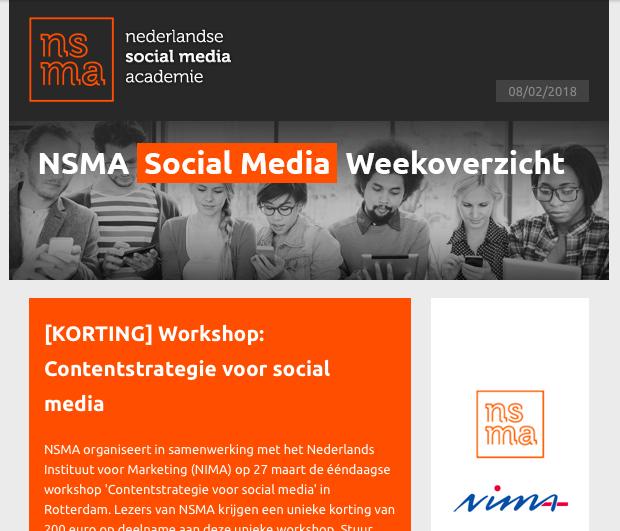 Wekelijkse nieuwsbrief van de Nederlandse Social Media Academie