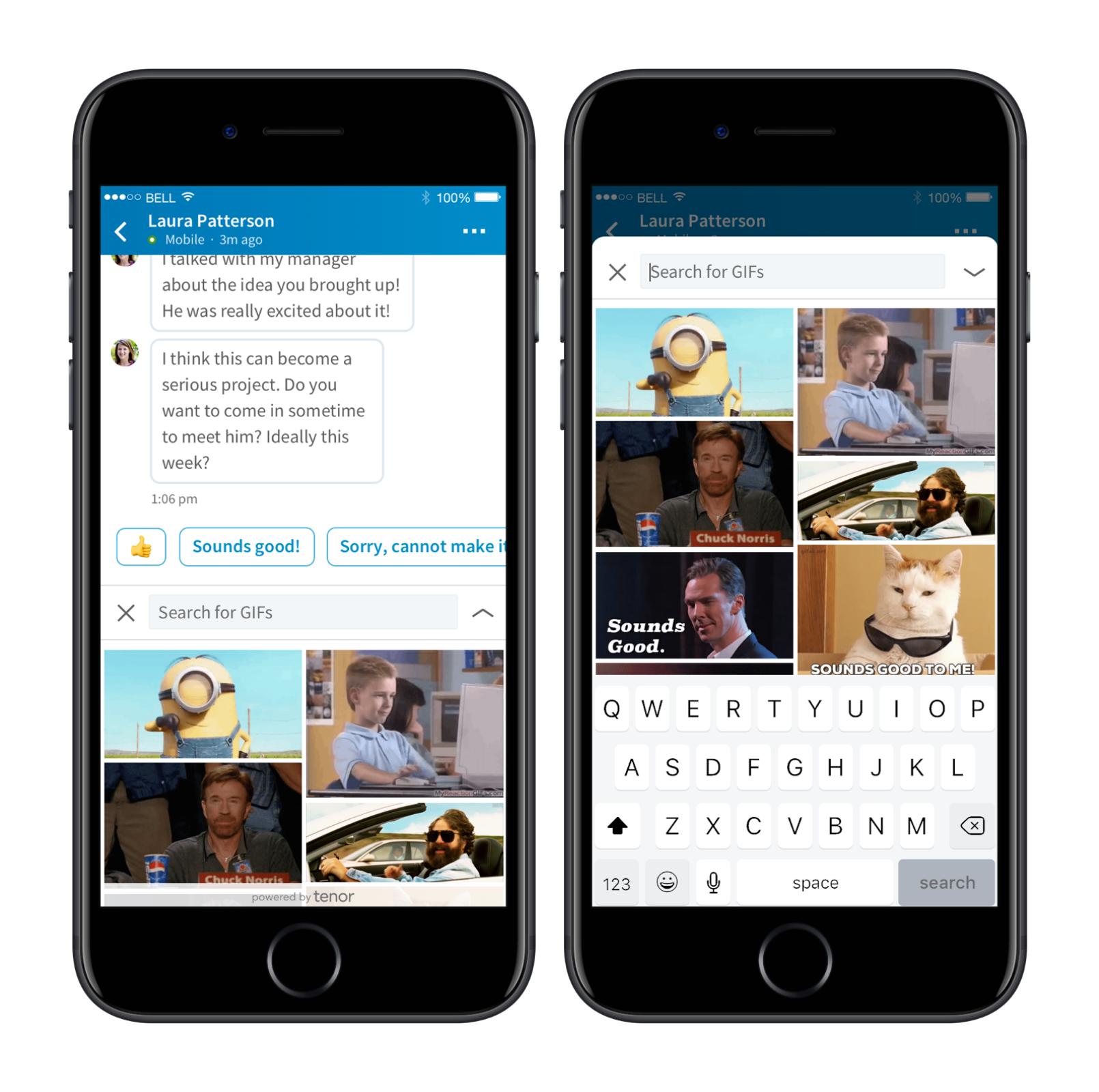 GIF-afbeeldingen beschikbaar in LinkedIn conversaties