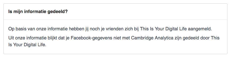 Is mijn informatie gedeeld met Cambridge Analytica