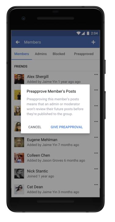 Vooraf goedkeuren van berichten door leden in Facebook groepen