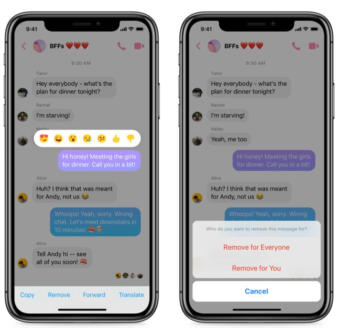 Het zelf verwijderen van een Facebook Messenger bericht na verzending