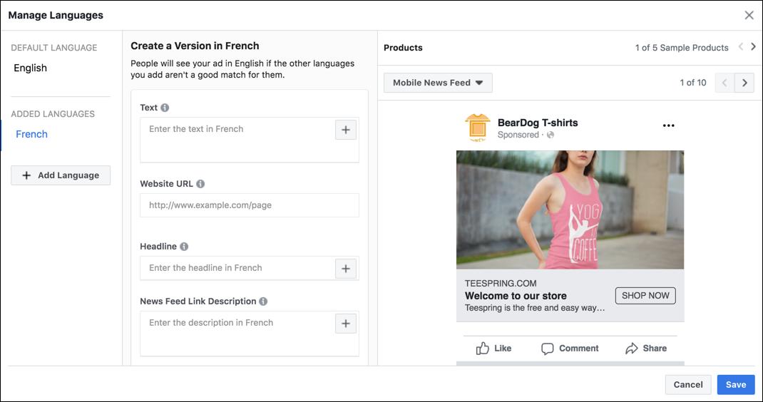 Facebook Dynamic Ads in meerdere talen