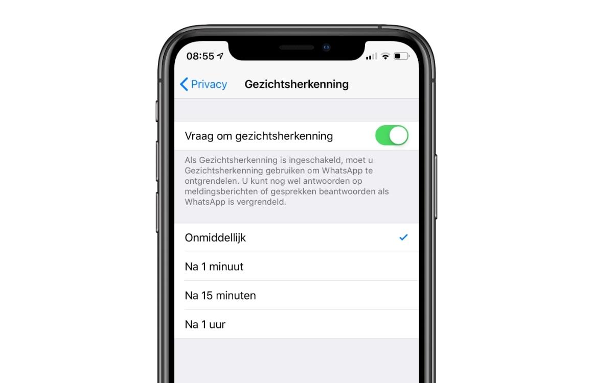 Beveilig WhatsApp berichten met Touch ID of Face ID