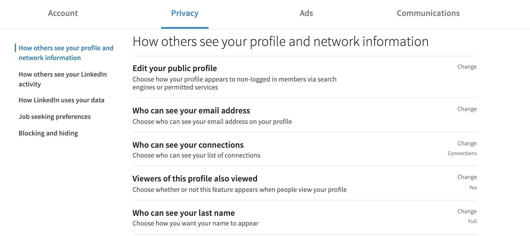 De zichtbaarheid van een LinkedIn profiel beheren 4 tabs