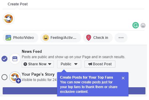 Maken van Facebook posts voor topfans