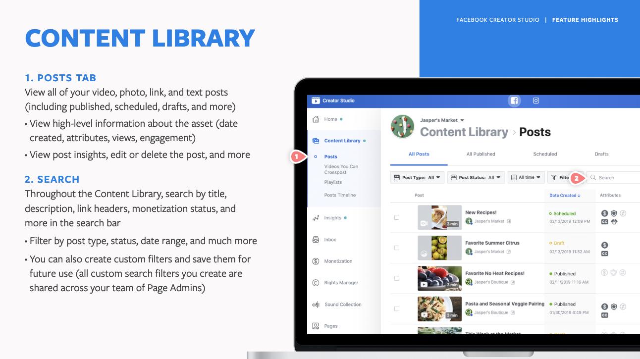 Facebook Creator Studio Content Library