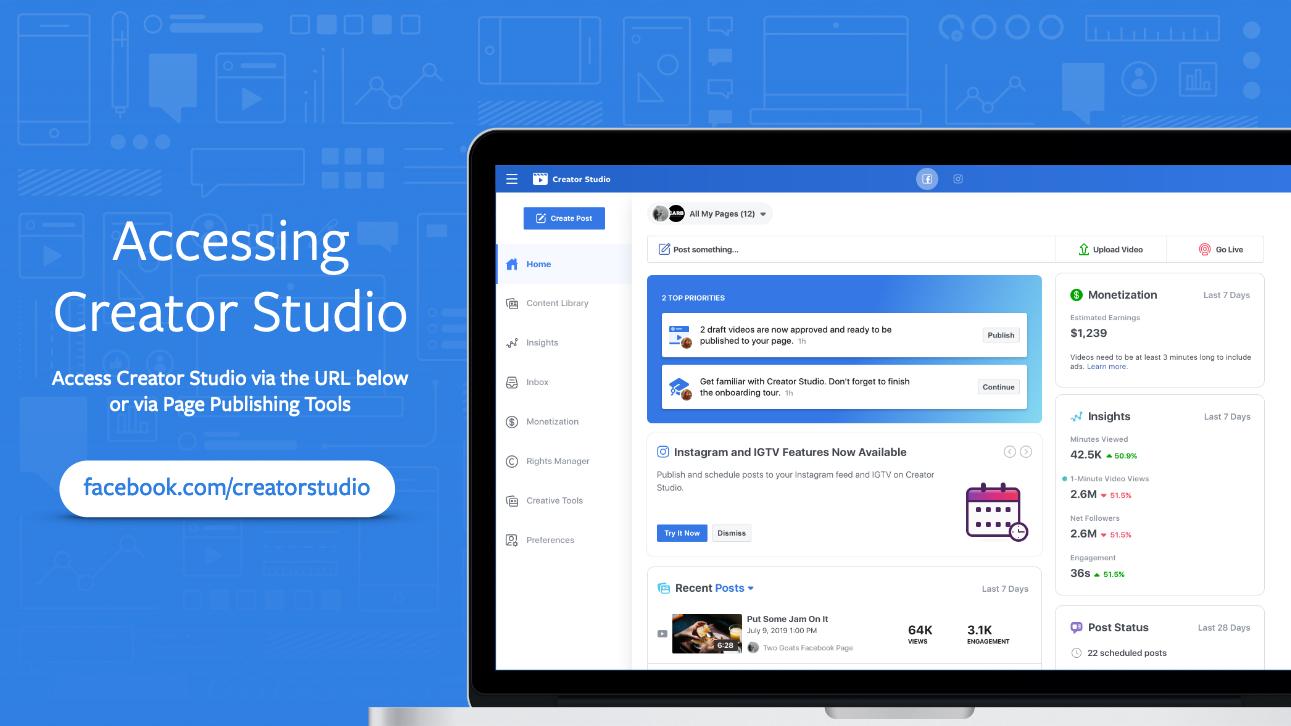 Facebook Creator Studio bezoeken